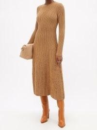 GABRIELA HEARST Django drop-stitch ribbed dress ~ camel-brown knitted dresses