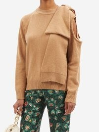 BERNADETTE Mia bow-trimmed cutout cashmere-blend sweater – camel brown cut out detail sweaters – womens statement bow jumpers