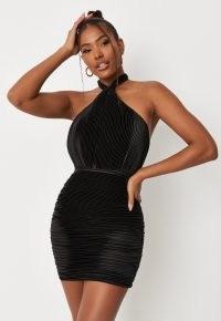 carli bybel x missguided black plisse halterneck micro mini dress – glamorous LBD – halter neck going out fashion – evening glamour