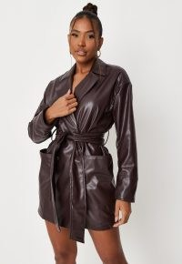 carli bybel x missguided chocolate faux leather tie waist blazer dress – jacket style dresses
