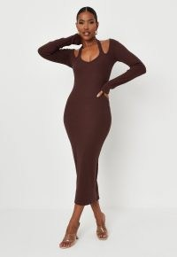 carli bybel x missguided chocolate rib cut out shoulder midi dress – brown cutout and halterneck detail bodycon dresses