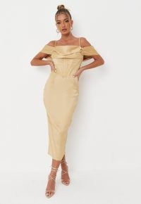 carli bybel x missguided mustard drape neck satin corset midi dress – luxe style going out dresses – glamorous evening fashion