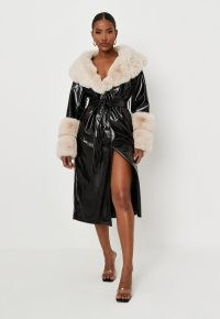 carli bybel x missguided premium black faux fur trim faux leather belted trench coat – glamorous winter tie waist coats – on trend outerwear