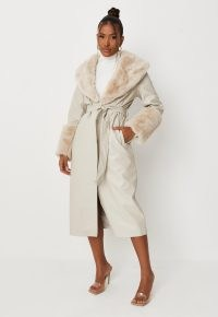 carli bybel x missguided stone plush faux fur trim faux leather belted trench coat – luxe style tie waist winter coats