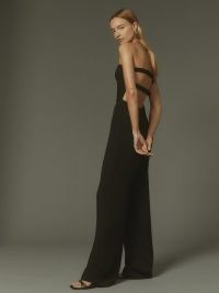 Reformation Carter Jumpsuit in Black – cut out / open back strapless jumpsuits