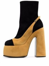 Casadei 170mm Roxy suede ankle boots | two-tone chunky platforms | retro footwear | 70s vintage style high block heels