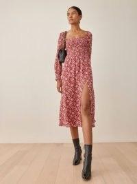 Reformation Cello Dress in Flower Girl | floral smocked bodice thigh high split hem dresses