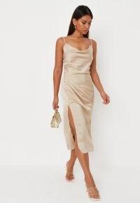 MISSGUIDED champagne satin cowl neck side button midi dress ~ skinny strap split hem cami dresses ~ luxe looks