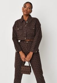 MISSGUIDED chocolate co ord mg print cropped denim jacket ~ crop hem logo jackets ~ womens casual brown outerwear
