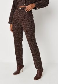 MISSGUIDED chocolate co ord mg print mom jeans ~ womens brown logo denim fashion