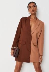 MISSGUIDED chocolate colourblock oversized blazer dress – tonal brown colour block jacket dresses