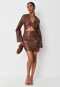 MISSGUIDED chocolate faux leather cut out trumpet mini dress – front cutout evening dresses – going out fashion