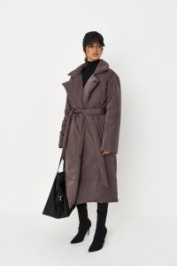 MISSGUIDED chocolate padded duvet trench coat ~ womens brown on-trend tie waist coats ~ women's fashionable winter coats