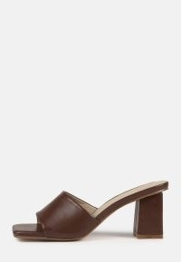 MISSGUIDED chocolate square toe block heel mule sandals / brown faux leather mules / chunky heels