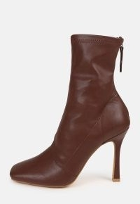 MISSGUIDED chocolate square toe stiletto heeled ankle boots / brown zip back faux leather high heel boots