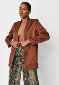 MISSGUIDED chocolate tailored satin blazer ~ on-trend brown open front ~ womens fashionable jackets