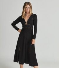 REISS CIARA LACE TRIMMED MIDI DRESS BLACK ~ split hem LBD ~ long sleeve front cut out fit and flare evening dresses