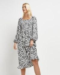 River Island Cream animal print shirred midi dress – square neck fitted bodice dresses – volume sleeve fashion