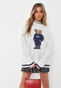 MISSGUIDED cream bear detail jumper / teddy bears on jumpers