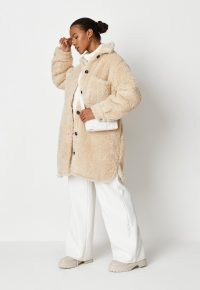 MISSGUIDED cream borg teddy mid length shacket ~ luxe style textured shackets ~ faux fur shirt style jackets