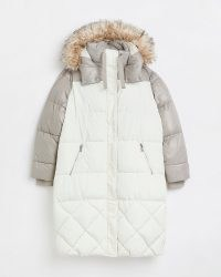 RIVER ISLAND Cream colour block quilted puffer coat ~ womens longline padded colourblock coats ~ women's on-trend hooded outerwear ~ faux fur trim hood