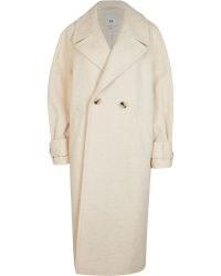 RIVER ISLAND CREAM DOUBLE BREASTED COAT ~ womens oversized longline winter coats