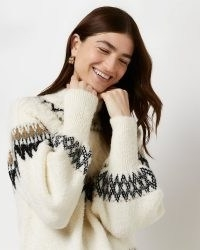 RIiver Island CREAM FAIRISLE KNITTED JUMPER | womens patterned jumpers