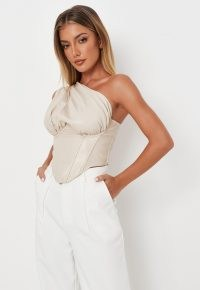MISSGUIDED cream faux leather one shoulder corset top – glamorous going out tops