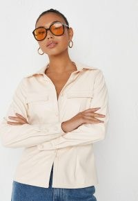 MISSGUIDED cream faux leather slim fit shirt – womens luxe style on trend shirts