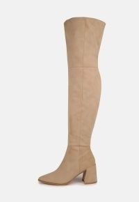 MISSGUIDED cream faux suede pointed toe over the knee block heel boots / womens neutral long boots