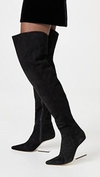 Cult Gaia Yasmina Boots in Black Suede ~ sculpted cut out heel over the knee boots