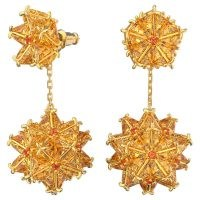 SWAROVSKI Curiosa drop earrings Geometric Swarovski Zirconia, Orange, Gold Tone – statement starburst drops – coloured crystals – crystal jewellery