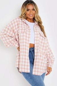 DANI DYER PINK CHECK SHACKET ~ celebrity inspired checked shackets ~ womens on-trend shirt jackets