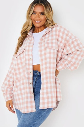 DANI DYER PINK CHECK SHACKET ~ celebrity inspired checked shackets ~ womens on-trend shirt jackets - flipped