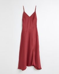 RIVER ISLAND DARK PINK ASYMMETRIC MIDI SLIP DRESS ~ cami strap dresses