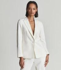 REISS DEVON SINGLE BREASTED WOOL BLEND BLAZER WHITE ~ womens chic jackets