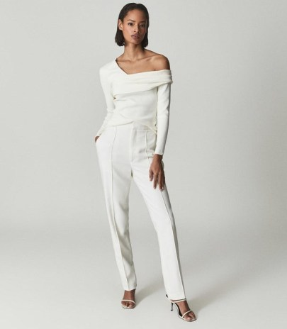 REISS DEVON WOOL BLEND TUXEDO TROUSERS WHITE ~ chic tapered evening pants - flipped