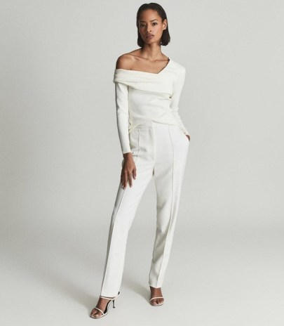 REISS DEVON WOOL BLEND TUXEDO TROUSERS WHITE ~ chic tapered evening pants
