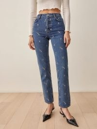 Reformation Dice Embroidery High Rise Straight Jeans | blue embroidered denim