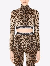 Lucy Hale brown animal print high neck crop top, Dolce & Gabbana leopard-print cropped top, on Instagram, 23 October 2021 | celebrity social media fashion | what celebrities are wearing now