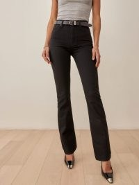 REFORMATION Donna High Rise Bootcut Jeans in Black ~ womens dark denim fashion