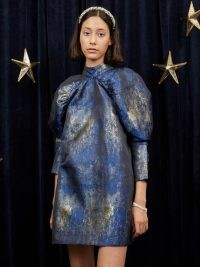 sister jane Galaxy Jacquard Mini Dress Blue and Gold – metallic puff sleeve high neck dresses – celestial inspired party fashion