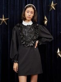 sister jane Nova Sequin Mini Dress Black – frill trimmed LBD