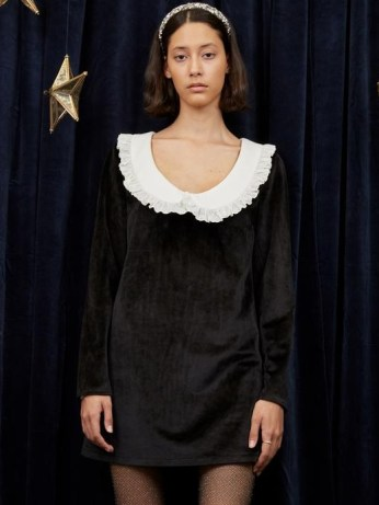 sister jane Aquarius Scoop Neck Mini Dress in Black – oversized collar velvet dresses - flipped