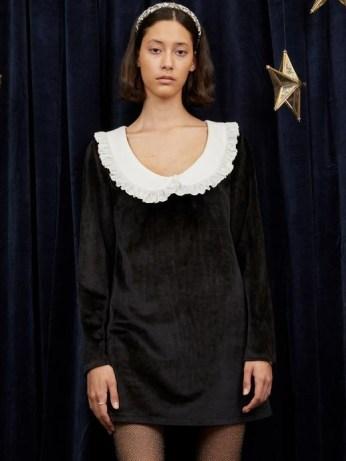 sister jane Aquarius Scoop Neck Mini Dress in Black – oversized collar velvet dresses
