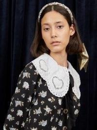 sister jane WRITTEN IN THE STARS Vega Heart Midi Dress Black and White – floral vintage style oversized collar dresses