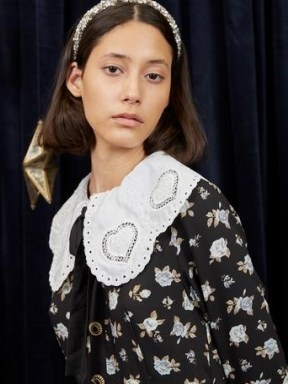 sister jane WRITTEN IN THE STARS Vega Heart Midi Dress Black and White – floral vintage style oversized collar dresses - flipped