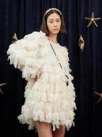 sister jane Cosmic Dust Mini Dress Buttercream / oversized sequinned frayed detail dresses / open back fashion