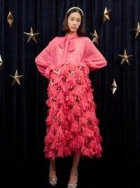 sister jane Infinite Ruffle Midi Dress Fushia / bright pink vintage style occasion dresses / shimmering party fashion