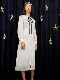 sister jane Twinkle Sky Midi Dress Ivory / semi sheer metallic thread dresses / vintage oversized collar fashion